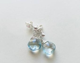 Topaz Earrings, Sterling Silver Stud Earrings, Silve Topaz Earrings, Topaz Stud Earrings, Sky Blue Topaz, Genuine Topaz Gemstones