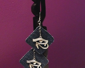 Egyptian  Eye of Horus silver or antique brass tone denim, earrings. Lightweight