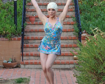 Vintage 1960s Blue And Pink Pucci Like Print One Piece Swimsuit - Size Medium B Cup