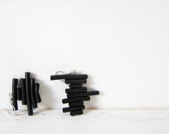 Black rubber earrings - minimalist dangle earrings geometric stripes summer jewelry