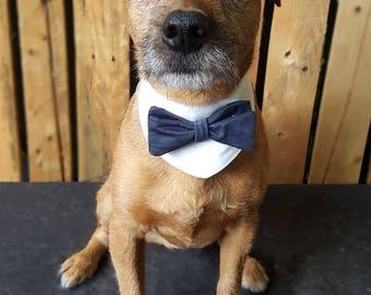 Dog wedding attire Dog bow tie. Dog Wedding bandana Dog Outfit. Dog  bandana. Dog collar. Dog tuxedo. White & Navy Dog Collar Dog costume.