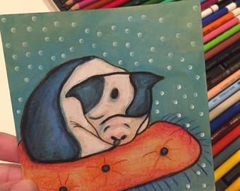 Boston Terrier Letter & Original Mini Art