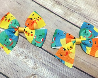 Pokemon Hair Clip, Pokemon Pigtails, Pokemon bow, Pokemon Party, Pokemon Hair bow, Pokemon hairbow, Hair Accessories for Girls
