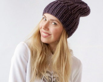 women slouch hat knit slouchy beanie handmade knitted from Italian alpaca and sheep wool big yarn