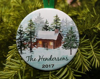 Winter Cabin Christmas Ornament with Family Name - Customized - C233 - snow trees