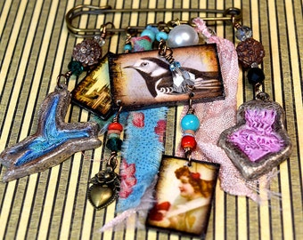 Mixed Media Handmade Collage Art Brooch 'ribbon' with Origami gift box