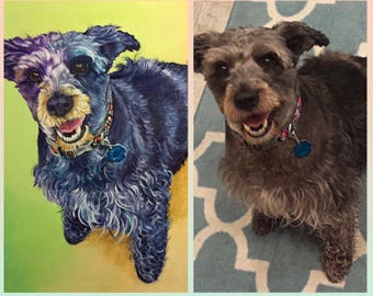 Custom pet painting, custom dog painting, dog art, pet gift, birthday gift for pet owners, pet loss, animal painting
