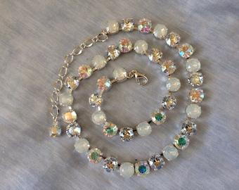 Swarovski Silver White Opal Bridal Necklace, 8mm crystal wedding necklace, bridesmaid necklace, white opal tennis necklace, bridesmaid gift