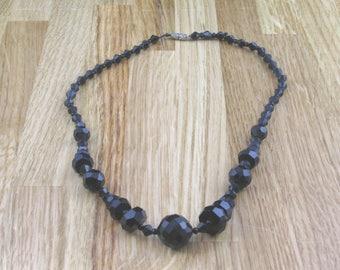 Vintage Black Glass Necklace, Hippy Jewellery, Womans Necklace, Womans Jewelry, Hippy Necklace, Boho Necklace, Retro Jewellery