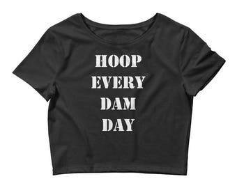 Hula Hoop Women's Crop Tee Black: Hoop Every Dam Day
