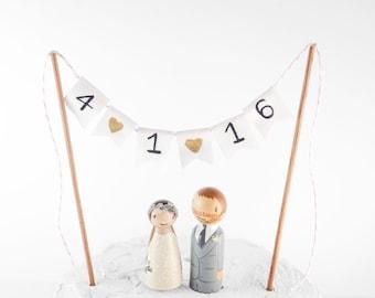 Wedding Date Banner, wedding date cake topper, cake topper, wedding decor, peg people cake topper, bunting cake topper, bride groom topper