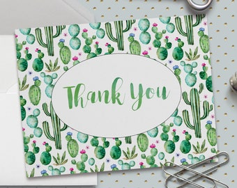 Printable Thank You Card, Cactus Thank You Card, Bridal Shower Thanks, Baby Shower Thanks, Fiesta, A2 5.5 X 4.25 Inch, Printable No. 1025