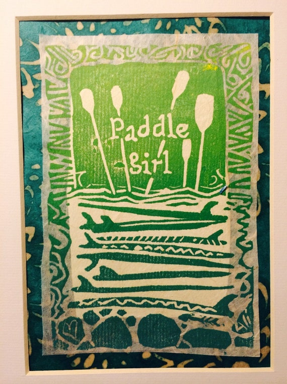 Paddle Girl 8 x 10 matted linocut print