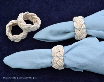 Nautical Napkin Rings Woven Natural White Cotton Pack of 4