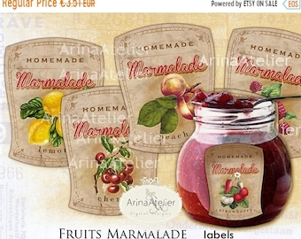 SALE - 40% OFF Fruits Marmalade Vintage LABELS - Jam Labels - handmade labels - Digital Labels - digital collage sheet -  tags, scrapbooking
