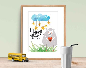 """Downloadable, """"I love ewe"""" nursery or child's room art with watercolor images Lemon Drop Images"""