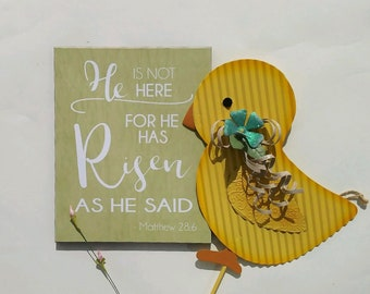 Easter Decoration, He Is Risen, Matthew 28:6, Christian Easter Decoration, Easter Centerpiece, Easter Decor, Table Decor, 8x10 Easter Sign