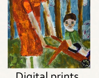 Mothers Day Gift Ideas. Mother & Son Figure Painting Print. Boy Figure Painting. Red Cart Print. Mother Wall Decor