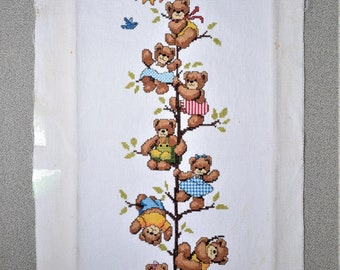 Finished Cross Stitch Bears on a Tree