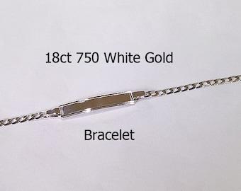 18ct 750 Genuine White Gold Bracelet + ID Name Plate Engrave Bracelet NEW