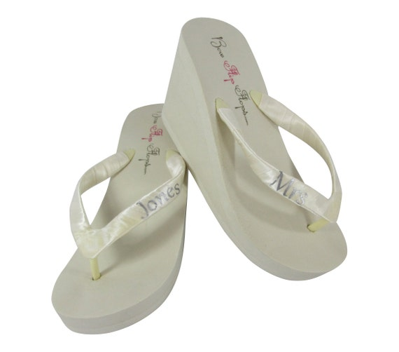 or Wedge Ivory Flip Personalized Pink Hot Flops White Many Bridal Color Mrs Options xOwg1APq