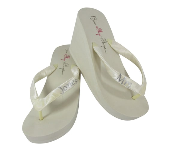 Color White or Ivory Mrs Personalized Options Hot Bridal Flops Pink Wedge Many Flip qPvn78qr