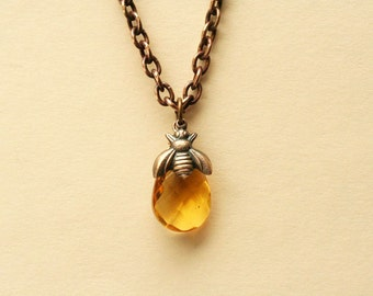 Bee Necklace Honey Bee Bumble Bee Jewelry Bee Lover Gift Topaz November Birthstone, gift for her, gift for mom, Christmas gift for women