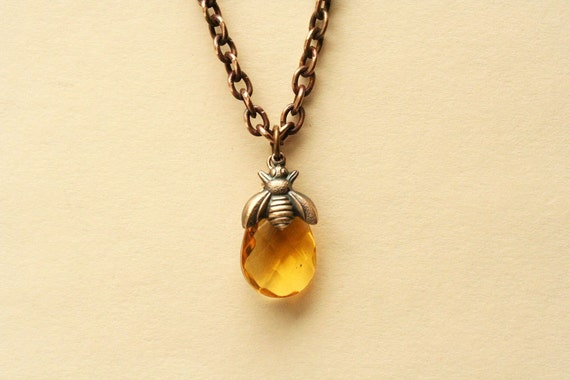 Bee necklace honey bee bumble bee jewelry bee lover gift topaz aloadofball Images