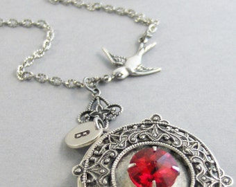 Rubies Song,Locket,Ruby Necklace,Ruby Locket,Ruby Jewelry,Antique Ruby,Red Necklace,Photo Locket,Silver Locket,Red Stone,valleygirldesigns