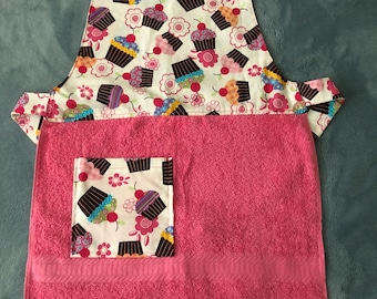 Child's Apron- Pink Cupcakes