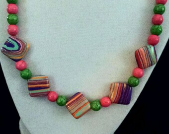Candy Colored Beads Necklace (E 487)
