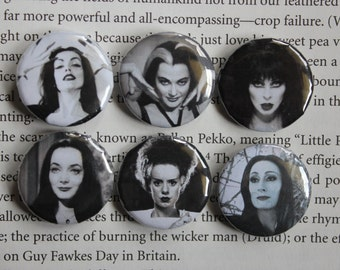 Ladies of the Macabre set of 6 pin-back buttons