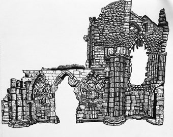 Whitby Abbey signed A4 black and white illustration print