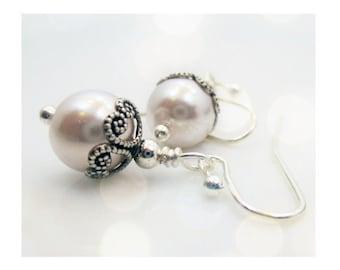 Beaded White Pearl Earrings Gift for Her for Wife Wedding Bridesmaid Jewelry Bridal Earrings Silver Pearl Earring Dangle Drop Earrings