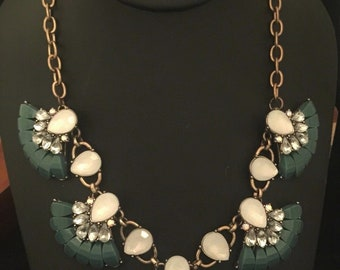 Vintage Antique Gold Tone Necklace / Teal Blue & White Accents with Rhinestones / Nicely Made / Great Gift Idea / Gift for Her