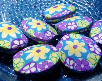 Large Clay Flower Beads 28 mm x 26 mm