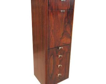 Mid Century Modern Milo Baughman Tall Liquor Cabinet / Bar Or Vertical  Credenza Storage Cabinet