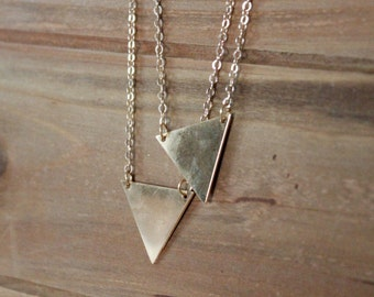 Gold Triangle Charm Necklace/ Gold Triangle Geometric Stainless Steel/ Simple Modern Layering Charm Pendant (NNP15)