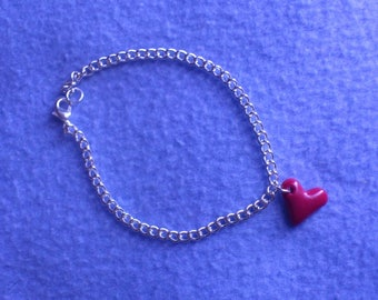 Small heart made of polymer clay bracelet