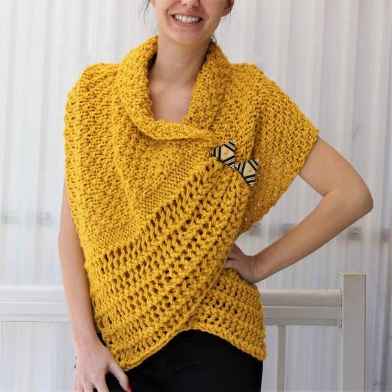 Easy Knitting Pattern Beginner Wrap Pdf Patron Tricot