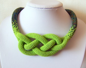 Green Beaded Crochet Josephine Knot Rope Necklace - Beadwork necklace - green and iridescent green necklace - modern statement necklace