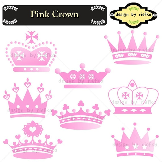 pink crown clip art elements for scrap booking paper craft rh etsy com Blue Crown Clip Art pink and gold crown clip art