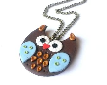 SALE! Owl Necklace Brown Owl Necklace ( owl pendant owl jewelry bird necklace owl charm polymer clay owl owl charm necklace cute owl )