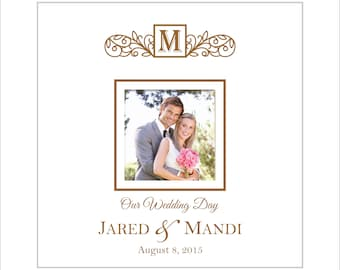 """Wedding Photo Album, Personalized """"Our Wedding Day"""" Picture Album, Holds 200 4x6 Photos, Faux White Leather"""