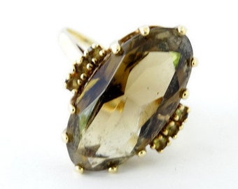 Art Deco Vintage Large Marquise Smoky Quartz Statement Ring in 10ct Yellow Gold FREE POSTAGE Included
