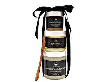 Tea Gift Set | Bath and Body Products | Spa Products | Bath Soaks | Sugar Scrubs | Lip Scrubs | Spa Gift Sets | Honey | Lemon | Green Tea