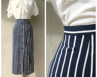 Vtg Linda Allard Ellen Tracy SILK navy white striped maxi skirt PETITE 2 4 xs
