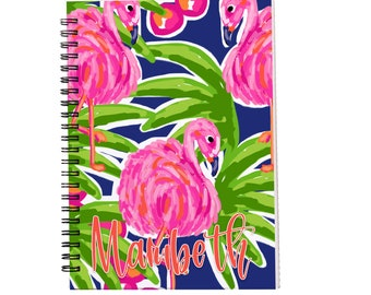 Fancy Flamingos Personalized Spiral Notebook, Journals for Women & Girls, Custom Notebooks, Lined Spiral Notebooks