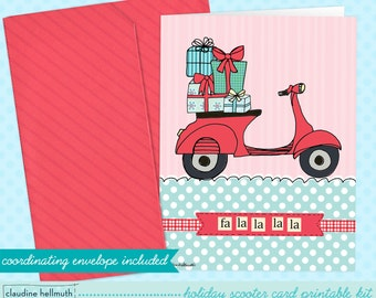 christmas card printable kit -  red retro scooter holiday greeting card printable INSTANT download PDF