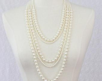 Multi Strand Pearl Statement Necklace Multi Layered Pearl Long Necklace Chunky Necklace Ivory White
